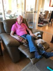 Paul with Chloe and Kayto - our 1st housesit in Melbourne