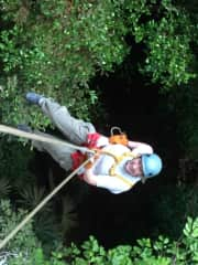 Rappelling down the 'black hole' in Belize