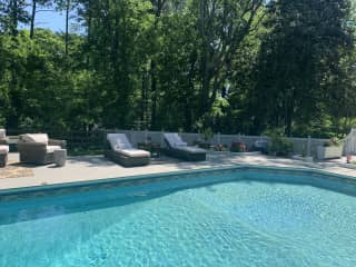 Great for outdoor dining. The pool yard has a great sitting area (L sofa and ottoman) along with a solo fire pit and propane grill. We also have 2 heat lamps.