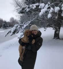 Stefanie and Grif on a winter walk.