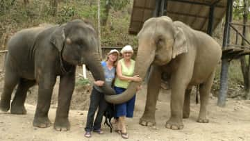 In my happy zone with this trip to an elephant sanctuary in Thailand. One kissed me on the cheek with his trunk. Gave me shivers, ha!