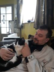 Simon with Guiness the cat in Britanny, France.