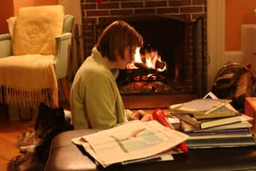 Lisa working in front of the fire with Siena nearby (as usual)