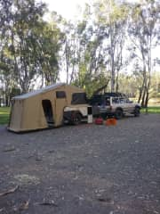 Our camper trailer, camping near the Murray river