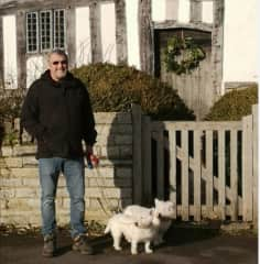 Walking Bonnie and Rosie in Stratford upon Avon