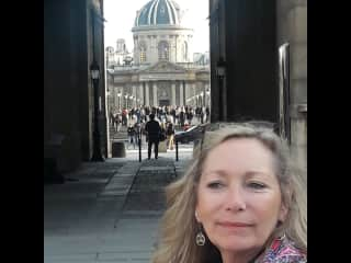 Heading into the Louvre.
