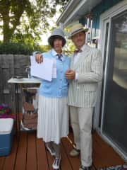 Dressing up for our 1920s Gatsby party.  Everyone came fully dressed in character.