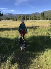Kate walking Angus the border collie in Lake Tahoe!