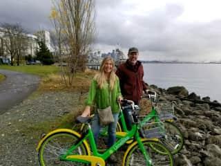 Reenie  an Mark biking in Seattle