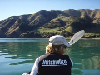 Michelle kayaking in Nelson, NZ