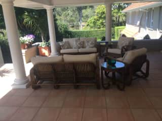 Lounge setting of outdoor living area