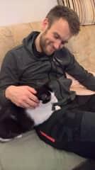 David pet sitting Klara´s mom cat
