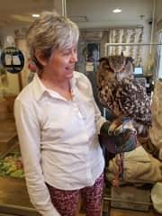 With Bob, the Eurasian eagle owl, in Tokyo