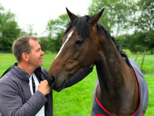 Lars with Joey, a rescue horse, who we looked after in the Cotswolds, UK