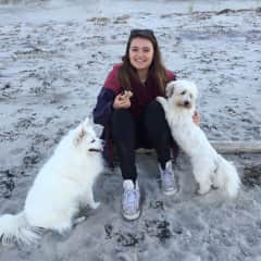 This is my daughter with the 2 dogs