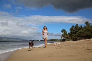 Running on the beach in Maui with 3 four-legged girls :-)