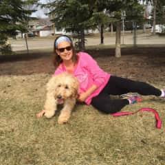 Maisie (my daughter's dog) and myself