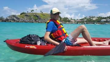 Adrian exploring Bermuda's inlets by kayak