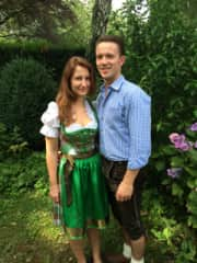 Dressed in traditional German clothes in Nuremberg