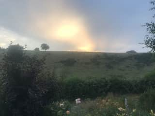 Sun going down in our valley  July 1st 2018