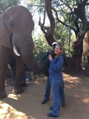 Kissed by an ELEPHANT in South Africa