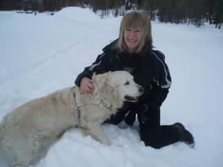 skiing with Tess, my constant companion for 14 years. She really loved the snow!
