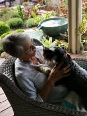 Greta  feeling loved by her stand-in Mum. Peregian Springs