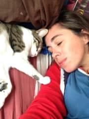 Mandy with Ozymandias (roommate's cat).