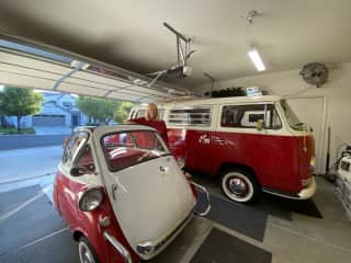 Our 57 BMW Isetta and our 70 VW Tin  Top Bus