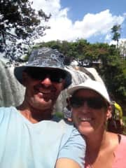 Steve and Lin at a waterfall in Vietnam