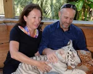 Monika and Mike with white Tiger