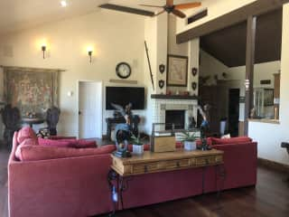 Large great room with kitchen and fireplace. Dining room is right off kitchen.