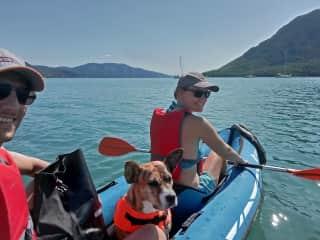 Attila, Bingo and Anita kayaking in Greece