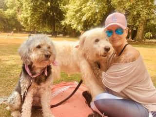 This is me with Snoopy my own lovely dog and Charly the white one, I rescued him from Romania and found him a caring Home here in Germany. We stayed some weeks all together ♡