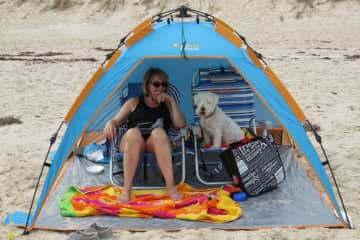 Connie with Frodo on the beach