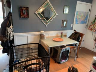 Dining nook, with puppy playpen