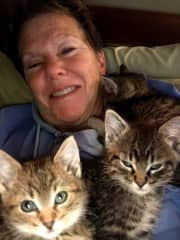 Vicki with foster kitties. I could add more photos but there are too many foster cats to post.