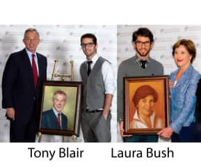 Andrew presenting his portraits to Prime Minister of England, Tony Blair & First Lady of the USA, Laura Bush