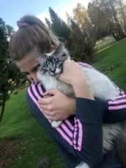 Cuddling my cat Pike