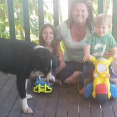 My grandchildren, Ziggy the dog and me