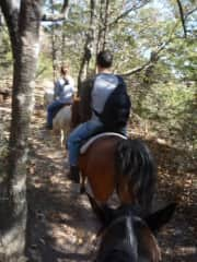 on a trail ride with friends
