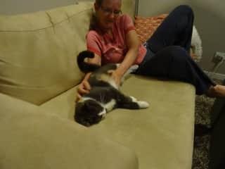 Lynsey & Possum having some cuddle time