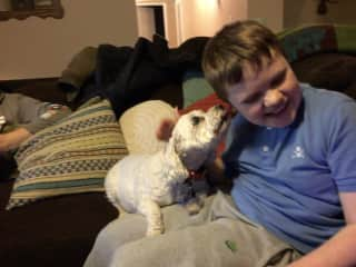 My son and our good friend's doggy: Salty