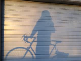 I bike everywhere (if I'm not on the bus). This is my silhouette when I had long hair.