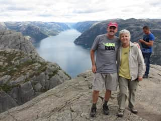Hiking Preikestolen on one of our many trips to Norway