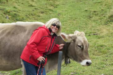 Mary with a pretty Swiss cow.