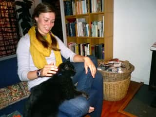 Hanging out with my WWOOF host's cat, Opus, in New Zealand