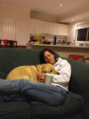 Deb having a little couch time with Bouncy