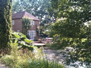 The pond at the front of the house