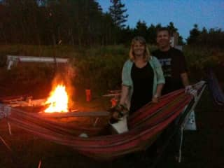 Brian and I and our campfire and hammock loving dog, Flora!